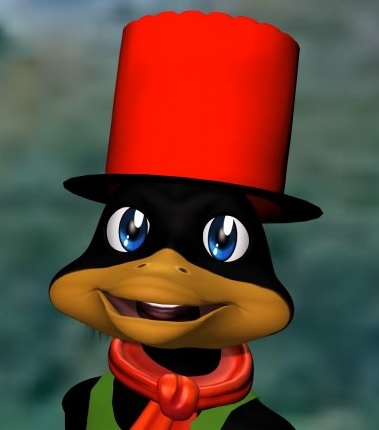 A little duck, really proud of his big red hat