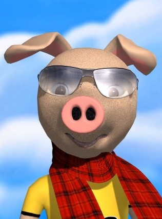 A sweet pig with glasses - so happy to be free